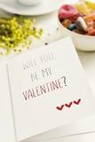 Texte vous serez ma valentine dans une carte postale Photo libre de droits