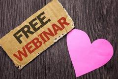 Texte Webinar gratuit d'écriture Présentation de collaboration de séminaire de la connaissance de formation de conférence de sign Photographie stock libre de droits