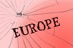 Texten Europa på det brutna exponeringsglaset Opposition- eller rasismbegrepp arkivbild