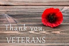 Texten tackar dig veteran som är skriftliga i en svart tavla och en röd vallmo på en lantlig träbakgrund Arkivbild