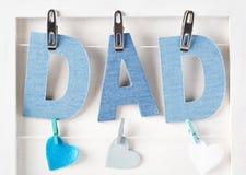 Textes et coeurs bleus de papa Images libres de droits