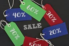 Textförsäljning och etiketter med olika procentsatser Arkivfoton