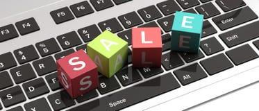 Textförsäljningsbokstäver på färgrika kuber på en datorbärbar dator illustration 3d vektor illustrationer