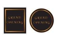 Textfahne der festlichen Eröffnung im Schwarzen und Gold auf weißem Hintergrund Stockfotografie