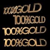 Textgold 100% auf schwarzem Hintergrund Abbildung 3D Stockfoto