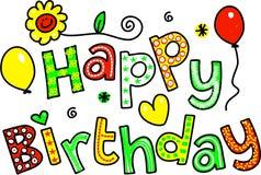 Texthälsning för lycklig födelsedag vektor illustrationer