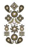 Textiel geborduurde flarden met lovertjes, parels en parels Vector illustratie royalty-vrije illustratie