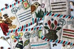 Textiel uitstekende prentbriefkaaren stock fotografie