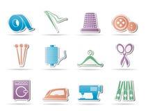 Textiel voorwerpen en de industriepictogrammen - pictogram stock illustratie