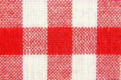 Textieltextuur in rode en witte cel Royalty-vrije Stock Afbeeldingen