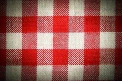 Textieltextuur in rode en witte cel. Royalty-vrije Stock Afbeeldingen