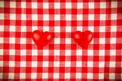 Textieltextuur in rode en witte cel Royalty-vrije Stock Foto
