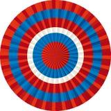 Textil badge in red and blue colors. Textil badge or button in red and blue colors. Vector editable royalty free illustration