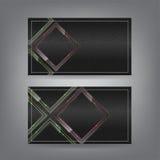Textil- und Neonglasthema-Visitenkarteschablone Stockfotos