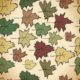 Textile abstract seamless pattern of autumn leaves vintage style.  Stock Images