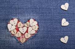 Textile applique for Valentine's Day. Stock Photos