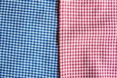 Textile background with checkered blue and red napkins, top view. Natural textile background. Fabric texture background. Texture o. F natural linen fabric royalty free stock photography