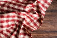 Textile background with a checkered red napkin, top view. Natural textile background. Fabric texture background. Texture of natura. L linen fabric stock photos