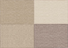 Textile background of different shades. Background of beige sackcloth,  four rectangular piece of canvas Stock Images