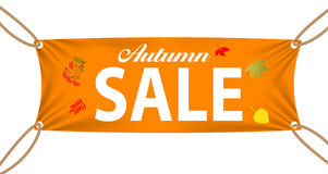 Textile banners with Autumn Sale Text Suspended by Royalty Free Stock Photo