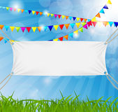 Textile banners with copy space suspended by ropes Royalty Free Stock Image