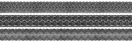 Textile black borders. Flowered textile black borders on white background stock images
