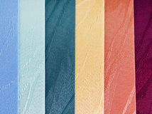 Textile blinds. Textile vertical blinds samples of different colors Stock Photo