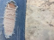 Old jeans lack fashion style. stock photos