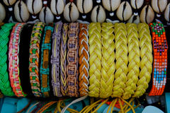 Textile bracelets. Hand made bracelets for exposed for sale Royalty Free Stock Photos