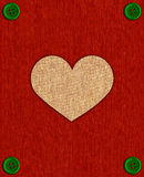 Textile card with heart and buttons. Stock Images