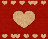 Textile card with hearts. Stock Photography