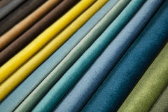 Textile catalogue, colorful fabric samples Royalty Free Stock Photos