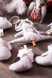 Textile Christmas decorations. Textile Christmas gray polka dot and gingham vintage decorations Royalty Free Stock Image