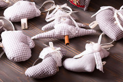 Textile Christmas decorations. Textile Christmas gray polka dot and gingham vintage decorations Royalty Free Stock Photo