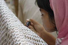 Textile, Close Up, Girl, Hand stock photos