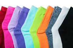 Textile colorful socks isolated on a white Stock Photo