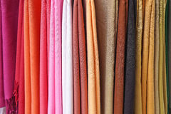 Textile colours. Shawls and scarves wraps in various colours Royalty Free Stock Photo