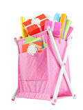 Textile container basket with colored paper Stock Photo