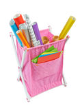 Textile container basket with colored paper Stock Photos