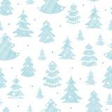 Textile décoré bleu de silhouettes d'arbres de Noël Image stock