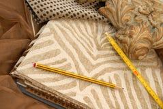 Textile decoration. Catalog of fabrics for home decoration Stock Photo