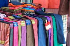Textile designs on the market.  stock photos