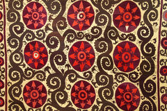Textile. Detail of an Uzbeki suzani embroidery stock image