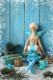 Textile doll with gifts and toys for Christmas Royalty Free Stock Photos