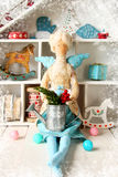 Textile doll with gifts and toys for Christmas Royalty Free Stock Photography