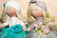 Textile dolls handmade Royalty Free Stock Images