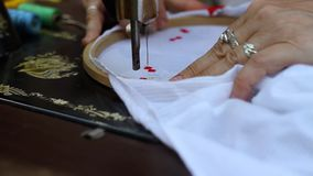 Textile embroidery machine stock footage