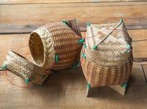 Textile en bambou de Kratip, récipient de riz collant Image stock