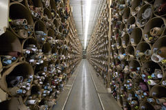 Textile fabric factory inventory aisle Stock Photography