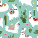 Textile fabric seamless patterns with illustrations of llama and cactus. Vector alpaca seamless pattern, green cactus backdrop vector illustration